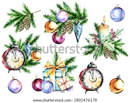 Christmas watercolor set. New year glass balls, alarm clock, spruce branch, gift box clip art. Winter holiday design. Isolated on white background.