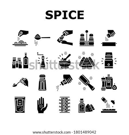 Spice Condiment Herb Collection Icons Set Vector. Salt And Pepper For Flavoring Meal In Kitchen Utensil. Spice On Spoon And Palm Glyph Pictograms Black Illustrations Royalty-Free Stock Photo #1801489042