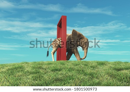 Giraffe entering a door and gets out as an elephant . Changing mindset and different approach concept . Life changing decision and new opportunities . This is a 3d render illustration . #1801500973
