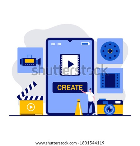 Mobile video editing app, multimedia production, video blogging concept with characters. People create a movie using smartphone. Modern vector illustration in flat style for landing page, hero images.