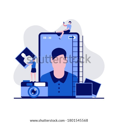 Mobile photo production, editing concept with characters. People taking picture using smartphone. Modern vector illustration in flat style for landing page, mobile app, web banner, hero images