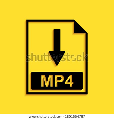 Black MP4 file document icon. Download MP4 button icon isolated on yellow background. Long shadow style. Vector.