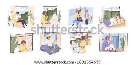 Scenes with people spend time at home near panoramic window. Set of woman and man dreaming, watering flowers, relax in hygge interior rooms. Collection of flat vector illustration isolated on white #1801564639