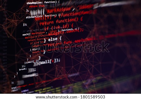 CSS, JavaScript and HTML usage. Monitor closeup of function source code. Abstract IT technology background. Software source code.