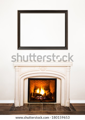 Luxurious White Marble Fireplace and empty wood frame for your text, logo, images, etc