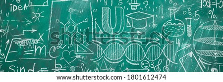 School chalk board is painted with different formulas and signs from the school curriculum. A green blackboard is drawn in chalk as a background. The concept of knowledge and learning. long banner. #1801612474