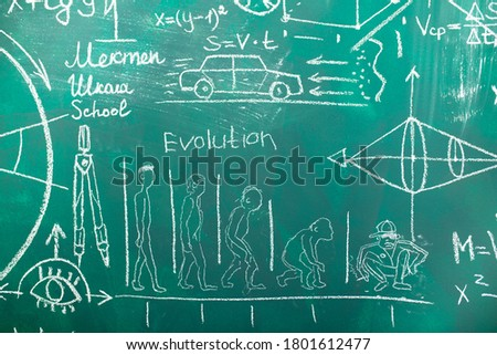 School chalk board is painted with different formulas and signs from the school curriculum. A green blackboard is drawn in chalk as a background. The concept of knowledge and learning. long banner. #1801612477
