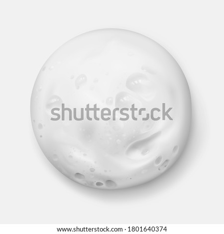 White foam texture from soap, shampoo or cleanser realistic vector illustration, top view. Shaving foam round spot, close-up.  #1801640374