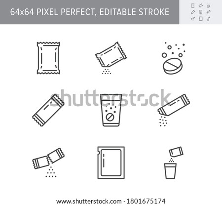 Sachet line icons. Vector illustration included icon as sugar powder packet, soluble pill, effervescent effect outline pictogram for medicine. 64x64 Pixel Perfect Editable Stroke. Royalty-Free Stock Photo #1801675174
