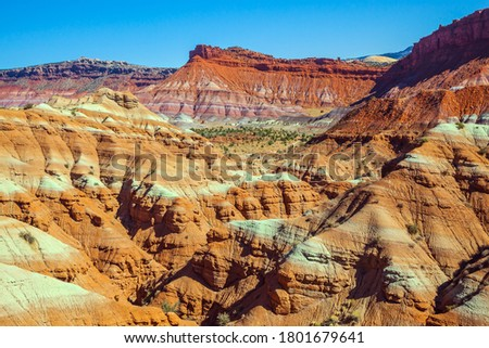 Picturesque spurs of red sandstone mountains. USA. Arizona, Utah. Paria Canyon-Vermilion Cliffs Wilderness Area. The concept of active, extreme and photo tourism #1801679641