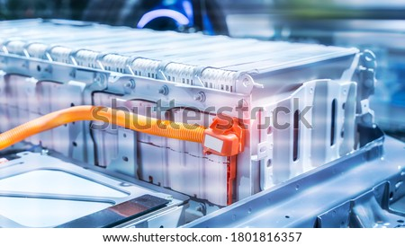 Electric car lithium battery pack and power connections Royalty-Free Stock Photo #1801816357
