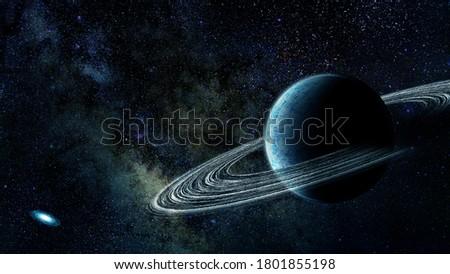 Sci fi ice giant alieb planet 4k stock photo, HD space scene.