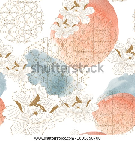 Abstract seamless background with watercolor texture vector. Peony flower flower with brush stroke illustration in vintage style. Pastel colorful concept. #1801860700