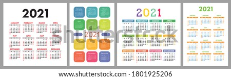 Calendar 2021 year set. Vector template collection. Simple design. Week starts on Sunday. January, February, March, April, May, June, July, August, September, October, November, December Royalty-Free Stock Photo #1801925206