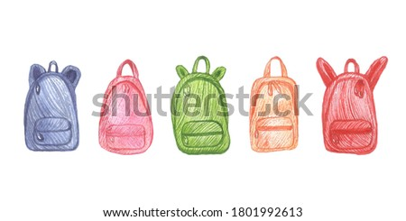 Camping bags colorful illustration. Red, blue, green, orange, pink camping bags isolated on white background. Clip art stock illustration.
