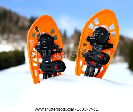 snowshoes for walking on the white snow on the mountain in cold winter #180199961