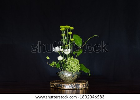 Ikebana , Japanese flower arrangement, simply putting flowers in a container.  Royalty-Free Stock Photo #1802046583
