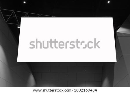 Mock up. Indoor advertising in the fair or event, Promotion board hanging with empty white mock up signage