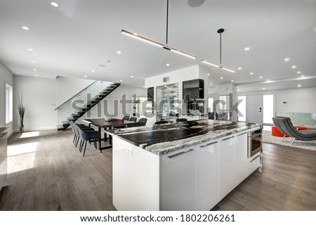 Real estate photography - New big luxury modern house in Montreal's suburb partially furnished with backyard, empty rooms, closets, basement and garage
