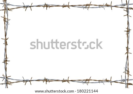 Frame Rusty barbed wire isolated on white