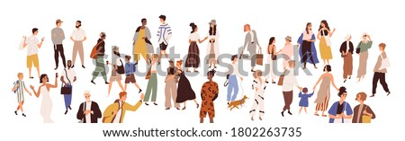 Crowd of multiethnic male and female person vector flat illustration. Diverse various people walking, hugging, talking to each other isolated on white. Smiling man, woman, couple and children Royalty-Free Stock Photo #1802263735