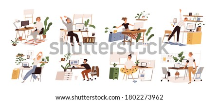 Set of different people practicing workout at workplace vector flat illustration. Collection of various employees doing warm up at office isolated. Man and woman stretch enjoying break #1802273962