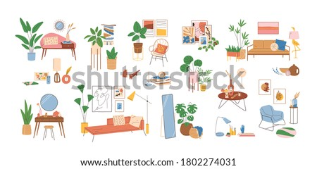 Set of modern interior decor elements vector illustration. Collection of various home furnishing accessories isolated on white. Colorful stylish and comfy furniture with houseplants and wall pictures Royalty-Free Stock Photo #1802274031