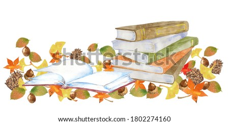 Watercolor illustration of books and autumn leaves