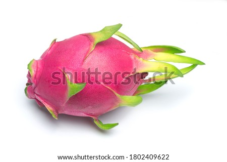 Dragon fruit, pitaya isolated on white background.  A pitaya or pitahaya is the fruit of several cactus species indigenous to the Americas.
