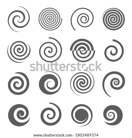 Spiral, helix line and bold black silhouette icons set isolated on white. Curl, curve stripe, twirl pictograms collection. Vortex, whirlpool, volute, swirl vector elements for infographic, web.
