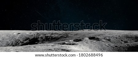 Moon surface. Dark background. Space panorama. Artemis mission. Elements of this image furnished by NASA Royalty-Free Stock Photo #1802688496