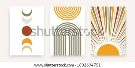 Abstract sun moon poster set. Contemporary minimalist backgrounds modern boho style. Mid century wall decor, vector art print.