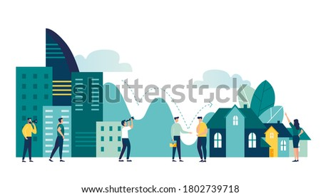 Vector illustration, real estate business concept with houses, real estate market growth, exchange of living space, presentation of a house, house for an apartment vector  #1802739718