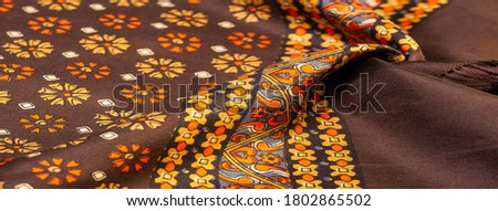 silk fabric of brown color with red and yellow colors, dense fabric, two-sided based on triacetate fibers. Texture, Background, Pattern, Decor, Modern, Textile, Art, Design, #1802865502