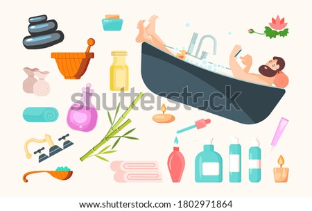 Set of spa cosmetics and accessories. Handsome guy sits in bathtub. Icons for cosmetology procedures and beauty salon. Isolated on white. Flat Art Rastered Copy