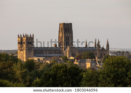 Durham cathedral during golden hour Royalty-Free Stock Photo #1803046096
