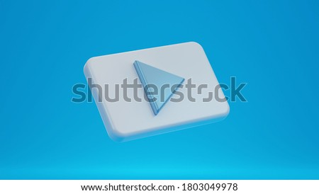 Play button icon on blue background. 3d rendering.