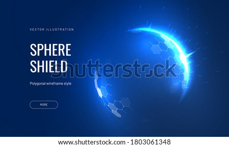 Dome shield geometric  vector illustration on a blue background. Bubble shield futuristic for protection in an abstract glowing style. Landing page and cover in tech style #1803061348