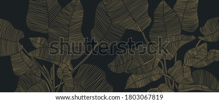 Golden leaf botanical modern art deco wallpaper background vector. Line arts background design for interior design, vector arts, fashion textile patterns, textures, posters, wrappers, gifts etc. #1803067819