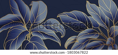 Golden leaf botanical modern art deco wallpaper background vector. Line arts background design for interior design, vector arts, fashion textile patterns, textures, posters, wrappers, gifts etc.