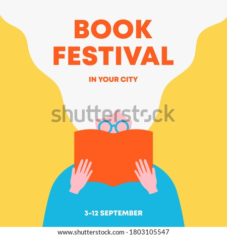 Woman holding an open book and reading. Poster for books festival, education, culture festival day, library or other reading or literature event. Front view. Trendy flat vector illustration. Royalty-Free Stock Photo #1803105547