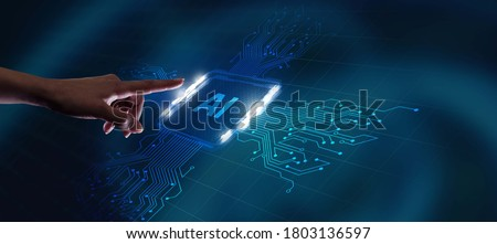 AI Learning and Artificial Intelligence Concept. Business, modern technology, internet and networking concept.                                 Royalty-Free Stock Photo #1803136597