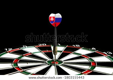 The flag of Slovakia is featured on the dart board game, the concept of achieving goals.