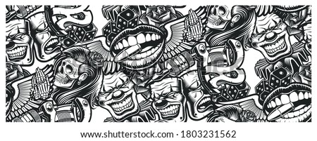 Seamless tattoo background with a skull, mask, tattoo machine, and other elements tattoo. Ideal for printing for fabric, wall decoration, and many other uses Royalty-Free Stock Photo #1803231562