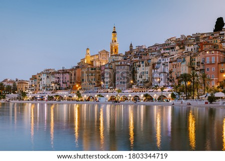 Menton France,Cote d Azur France, View on old part of Menton, Provence-Alpes-Cote d'Azur, France Europe Royalty-Free Stock Photo #1803344719