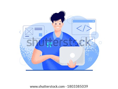 IT guy with a laptop vector modern illustration - blue color. Smiling young man portrait in glasses, a polo t-shirt, holding a computer in hands, coding icons. Tech person character flat illustration  Royalty-Free Stock Photo #1803385039