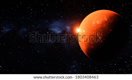 Orange Planet with a sun gazing over the planet. milkyway background