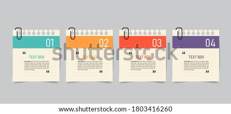 Text box design with note papers. Royalty-Free Stock Photo #1803416260