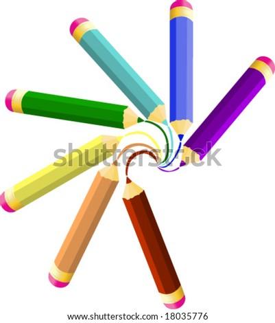 rainbow Colored Pencils vector illustration #18035776