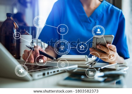 Medicine doctor touching electronic medical record on tablet. DNA. Digital healthcare and network connection on hologram modern virtual icon